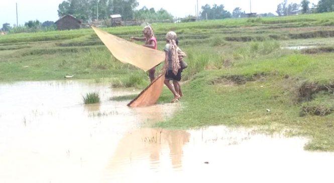 लकडाउनमा बालबालिका, खोलामा 'माछा मार्दै' बित्छ दैनिकी